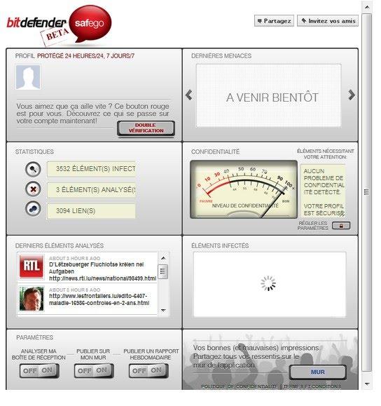 Bitdefender Safego Beta result on Facebook