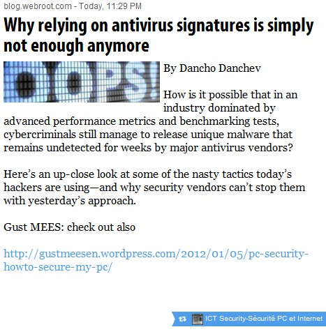 Antivirus signatures is simply not enough anymore